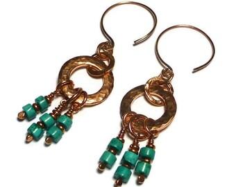 Turquoise and Copper Earrings, Blue Turquoise Jewelry, Blue Stone Earrings, Dangle, Boho, Gypsy, Hippie Earrings