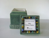 Arts and Crafts MUD Pi Ceramic Keepsake Box with Fused Glass Picture Frame Lid
