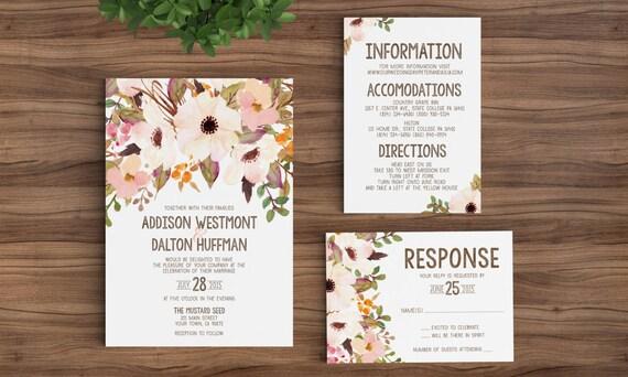 Wedding Invites Printed Rustic Bohemian Floral Watercolor