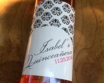 Quinceañera Wine Labels, Quinceanera Sticker, Quinceanera Label, Birthday, Sweet Sixteen, Favor, Table Number, Custom, Personalized, Decor