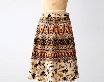 vintage wrap skirt, elephant block print skirt