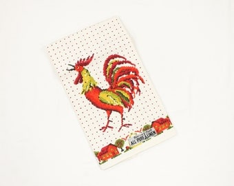 Vintage Red Rooster Dish Towel - Parisian Prints Natural Linen - MWT Red Yellow Chartreuse Print 1960s Kitchen Dish Tea Towel NOS