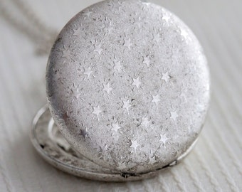 Locket Necklace,Stars Silver Pocket Locket,Silver Locket,Flower Locket,Flower,Wedding Necklace,bridesmaid necklace