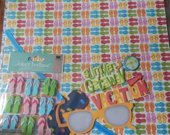12x12 summer beach vacation flip flops sunglasses scrapbook page kits