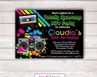 Awesome 80's 5x7 Party Invitation - Girl Birthday PRINTABLE
