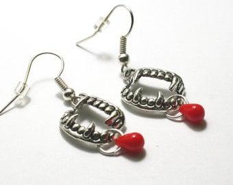 Vampire Teeth Blood Earrings