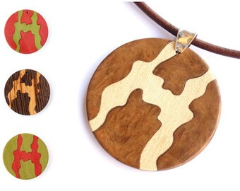 Pendant necklace, Round pendant, Pendant wood, Wood jewelry, Wooden necklace, Wood accessories, Bridesmaid jewelry, Womens fashion