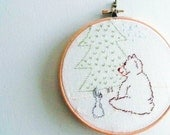 Embroidery hoop art - bear and bunny