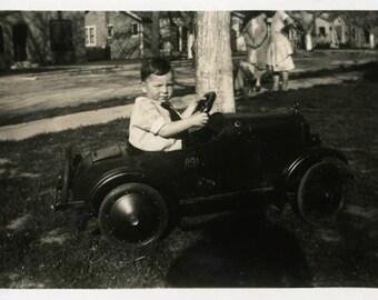 "Vintage Photo ""Zach Zooms"" Pedal Car Snapshot Photo Old Antique Photo Black & White Photograph Found Photo Paper Ephemera Vernacular - 130"