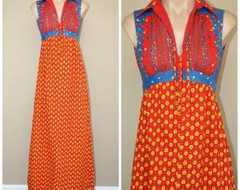 Vtg 60s 70s Denise Are Here Sleeveless Floral Hippie Folk Festival Maxi Dress sz XS S