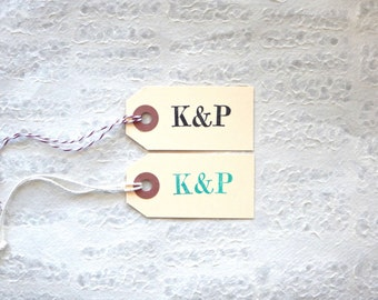 ONE Small Bold Monogram Manila Tag - Hand Stamped / Wedding Favor Hang Tags, Personalized Gift Labels, Typewriter Font, Unique Advice Cards