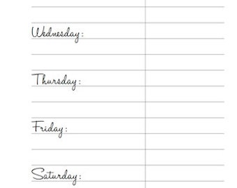Meals: Printable Planner Pages, Personal Size, Instant PDF Download, Handletter Font