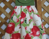 Apple Themed Kitchen Tea Towel Apple Hanging Kitchen Towel with Apples Kitchen Dish Towel SnowNoseCrafts