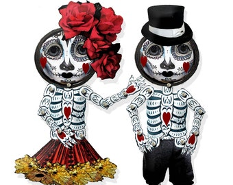 Printable day of the dead gothic articulated paper dolls illustrated puppets printable craft project