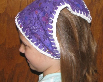 Handmade Violet Floral Head Kerchief with Hand Crocheted Cotton Yarn Edging for Children or Teens