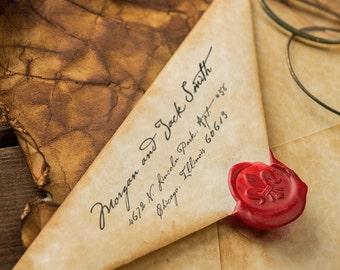 Personalized Address Stamp - Custom Address Stamp - Handwritten - Calligraphy Style - Self Inker - Wood Mounted - Weddings - DIY Printing