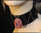 Purple Cthulhu Tentacle Choker with Glass Vial - Black Leather Collar - Artisan Jewelry Grimm Polymer Clay Steampunk Fantasy Goth Lady