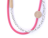 2 piece - Wood & Fabric Necklace - Hot Pink and Black and White Dots