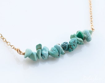Rough Turquoise Bar Necklace - Gemstone Bar Necklaces - December Birthstone Necklace - Layering Necklace - Delicate Necklace