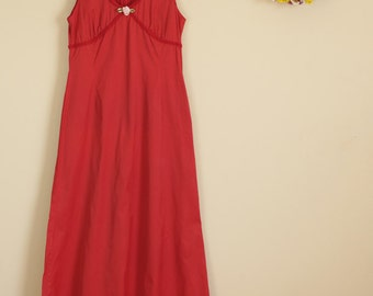 SALE Red Rose Evening Gown Prom Maxi Dress 60s Sleeveless Party Summer Festival