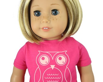 """Doll Shirt - Fits 18"""" Girl Doll / 18"""" Doll - Owl - 18 inch doll shirt / Top / Clothes - Pink"""