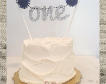 "Pom Pom ""one""  Banner Cake Topper // First Birthday Smash Cake Topper // Photo Shoot Prop"