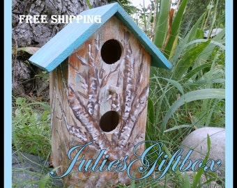 Decorative Birdhouse With Hand Painted Birch Trees Aqua Roof-For Him Or Her-Great Gift-Bird House-