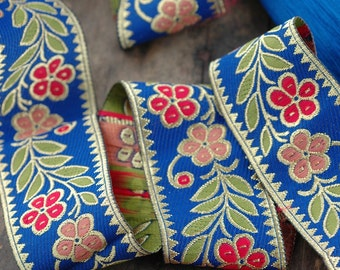"Blossom on Blue: Red, Orange, Green Trim, Ribbon, Sari Border 1.5""x1 Yard, Holiday Gift Wrap, Decorating, Sewing Supply, Woodland Wedding"