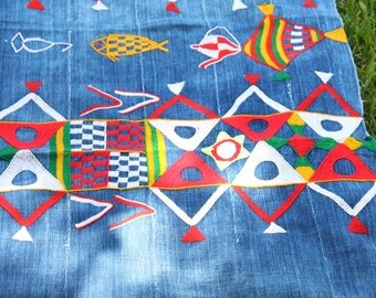 Vintage Indigo Cloth from Mali West Africa, Tribal Wall Hanging, Decorating Upholstery Supply, Bright Neon Embroidery Marriage Cloth Textile