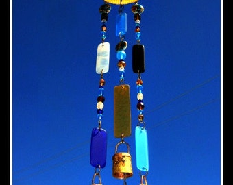Large Shell Windchime with Stained Glass, Beads & Bells