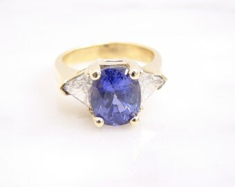 Vintage 4.2ct Genuine Blue Sapphire and Diamond Ring Engagement Ring 14K Yellow Gold
