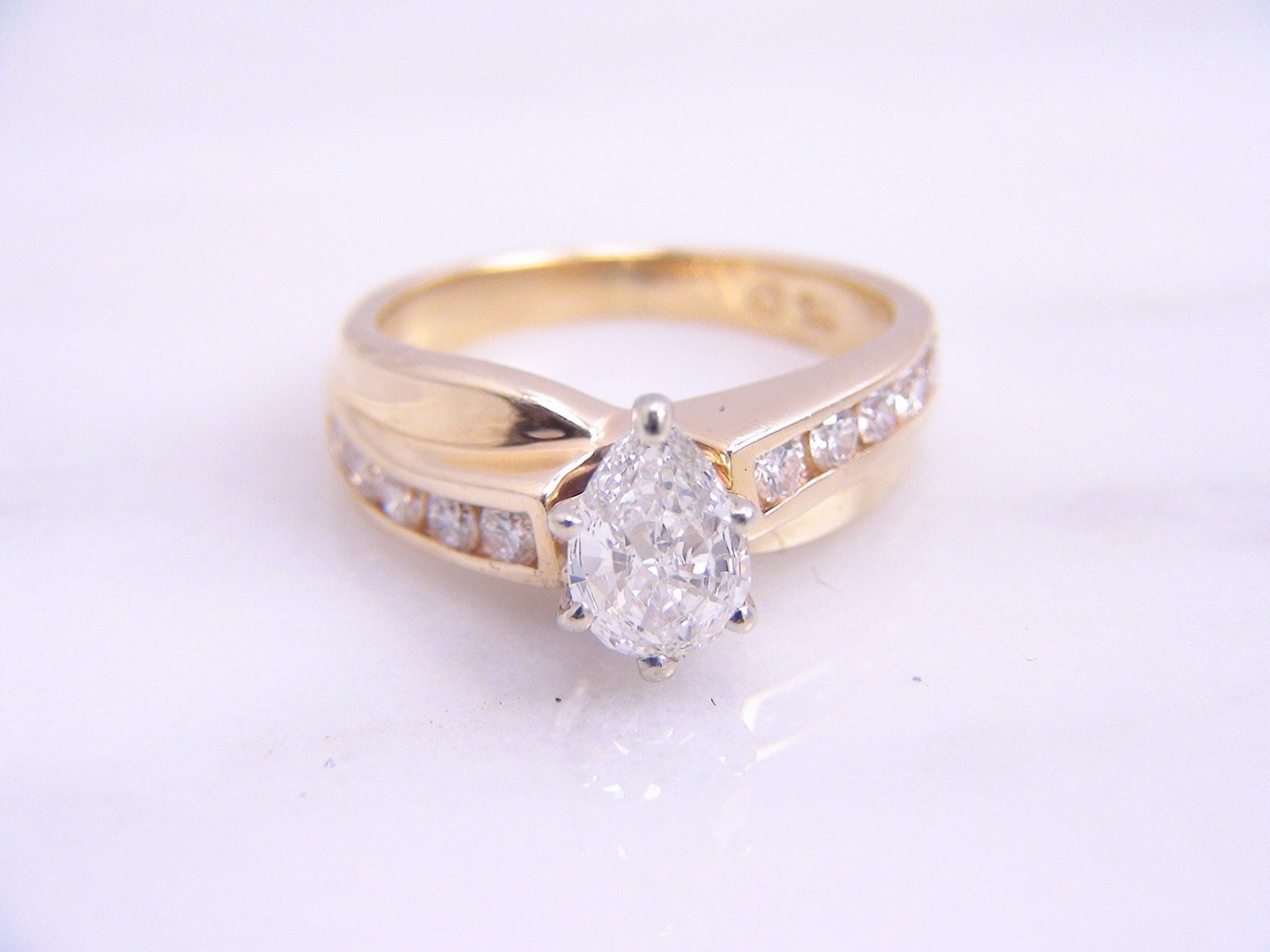 CLEARANCE Vintage Pear Shaped Diamond Engagement Ring 14K