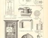 1904 Electricity Meters, Electric Meters or Energy Meters Vintage Engraving Print
