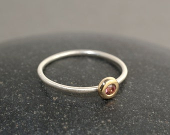 Pink Tourmaline 14k Gold and Sterling Silver Ring