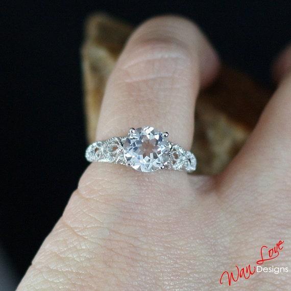 white topaz engagement ring milgrain filigree by