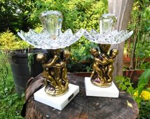 Wonderful Cherub Themed Italian Candlestick Holder Duo.*~International Shipping is available, please contact us for a quote.