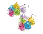 Colorful Flower Cluster Earrings, Silver Earrings, Lucite Floral Jewelry, Czech Glass Beads, Summer, Pink, Yellow, Green, Turquoise, Purple