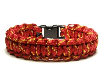 Paracord Bracelet Flash Bright Red Yellow Stripe Survival Accessory Gift Military Veteran Fireman Scouting First Responder Camping Superhero