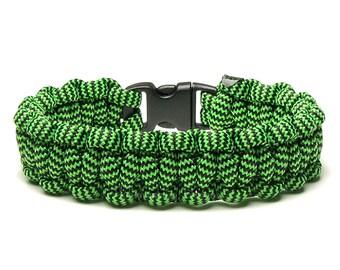Paracord Bracelet Shockwave Neon Green Black Stripe Military Survival Accessory Veteran Outdoor Unisex Woven Cord Scouts Gift Men Women Teen