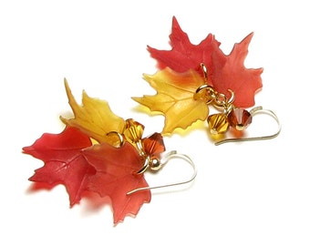 Falling Leaves Autumn Harvest Swarovski Crystal 14K Gold Filled Leaf Earrings, Fall Earrings, Fall Jewelry, Rust, Red, Yellow, Autumn Leaves