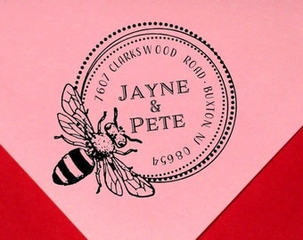 Honey Bee Address Stamp Custom Personalized Round Bumble Bee Return Address Bee Address Stamp Insect Bee Hive Bee Keeper Honey Brand Stamp
