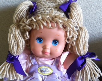 Cabbage Patch Kid Style Crocheted Light Brown Wig Hat Halloween Costume for Baby Girls Size Newborn to 12 Months