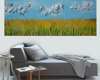 16x40 Textured Wheat Fields and Blue Cloud Skies