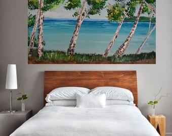 Custom Commission 24x36 Beach Side Aspen/Birch Tree Landscape Art by MyImaginationIsYours