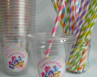 Set of 24-My Little Pony Party Cups, Lids & Straws