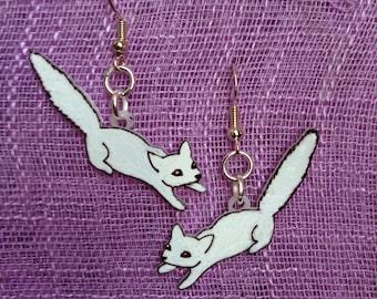 White Arctic Fox Earrings