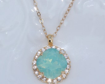Swarovski Mint Blue Opal Halo Necklace,Pacific Opal Rhinestone Necklace,Halo Rhinestone Necklace,14K Gold Filled Necklace,Bridesmaids,Minty