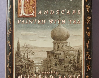 Vintage Landscape Painted with Tea by Milorad Pavic, 1990, 1st edition, Serbian Poet, Yugoslovia, Crossword puzzle book, Gift for architect