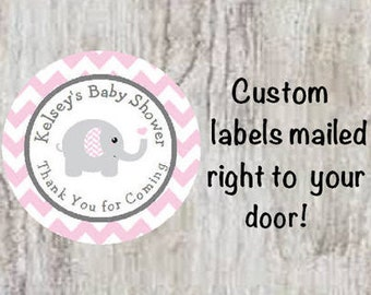 PRINTED Baby Shower Round Party Favor Stickers - Pink Grey Gray Elephant Chevron Stickers