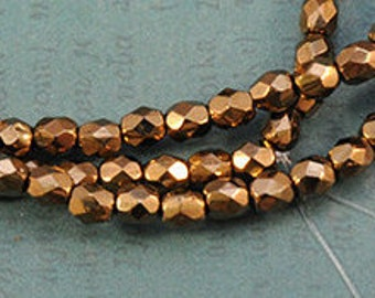4mm Bronze Gold - Czech Glass Fire Polished Faceted Round - Full Strand - 50 Beads